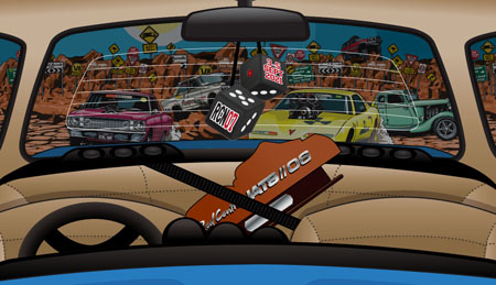 Graphics of the inside of a car through the windscreen