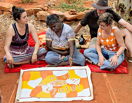 Group of people view an Aboriginal painting