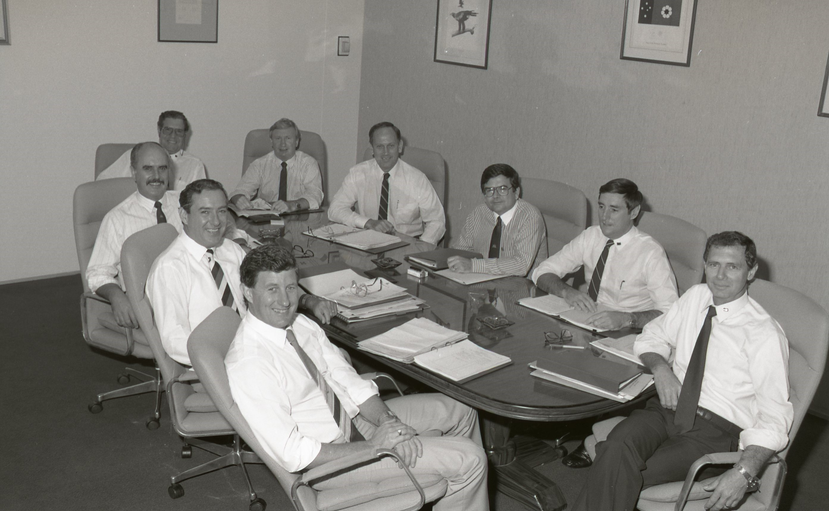 Cabinet members around the Cabinet Table, 14 March 1989<br />Image courtesy of Library & Archives NT,  Department of the Chief Minister, NTRS 3823 P1, Box 11, BW2799, Image 2